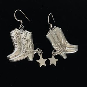 Sterling Silver Signed Spur Cowboy Boots Earrings